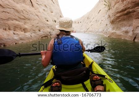 Kayaking in a canyon