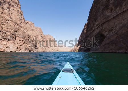kayaking in beautiful day at lake Mead, Arizona