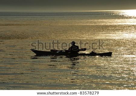 Kayaking in Puget Sound sunset, Seattle, Washington