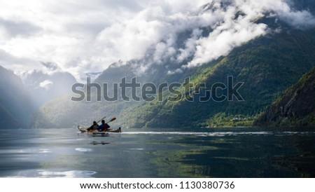 Kayaking in the Nærøyfjord, Norway.