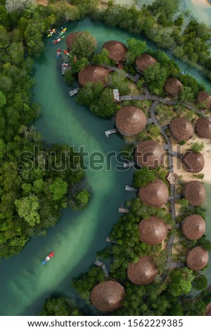 Kayaking on emerald canal close the mangrove forest at Payam Island, Ranong, Thailand Сток-фото ©