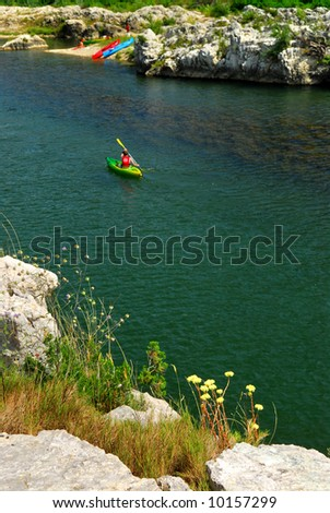 Kayaking on river Gard in southern France near Nimes