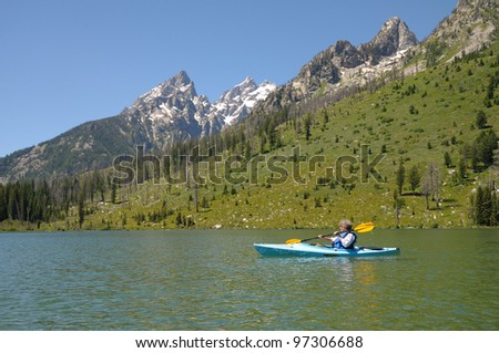 Kayaking on String Lake at Grand Tetons National Park in Wyoming