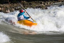 Kayaking. Rodeo white water Katun Altay