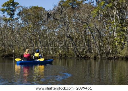 Kayaking the creek near the Suwannee River, Suwannee, Florida