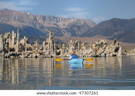 Kayaking through tufas at Mono Lake in California