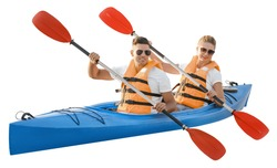 Kayaking young couple isolated on white