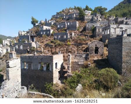 Kayakoy Ancient Village Lebessos, Livissi Lycia Fethiye Turkey Stok fotoğraf ©