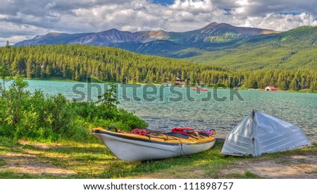 Kayaks at Maligne Lake at Jasper National Park, Alberta, Canada