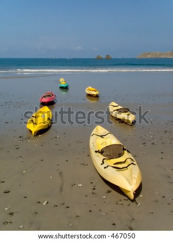Kayaks on Playa espadilla in Manuel antonio, Costa Rica