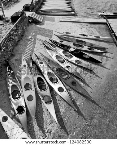 Kayaks on the beach in the Park Stockholm - Sweden (black and white)