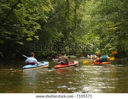 kayaks on the river