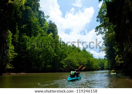 kayaks on the river south of Thailand