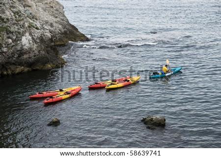 Kayaks on the sea