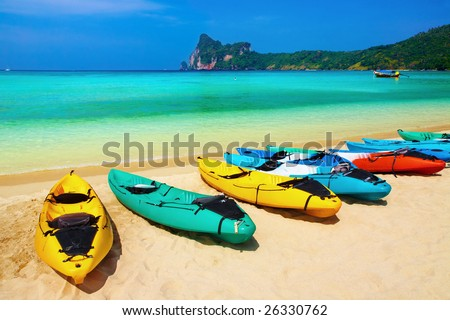 Kayaks on the tropical beach, Phi-Phi Don island, Thailand