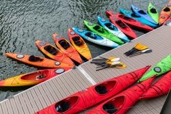 Kayaks park at Boston Harbor in Massachusetts, USA.