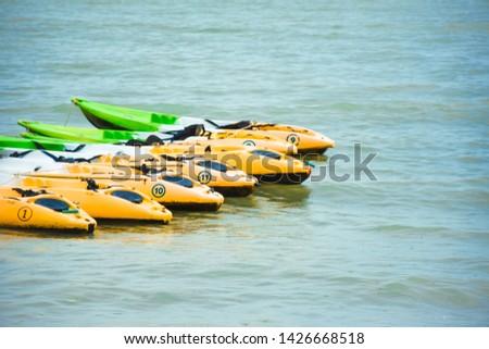 Kayaks parking on the sea at Phi Phi island Krabi, Thailand. Kayak rentals at Phi Phi island.