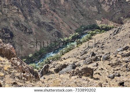 Kazakhstan. Canyon Rocky. Deep down the Charyn river flows #733890202