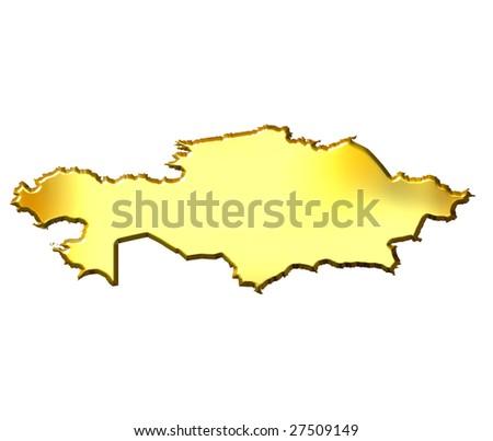Kazakhstan 3d golden map