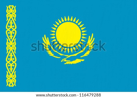 Kazakhstan flag drawing by pastel on charcoal paper