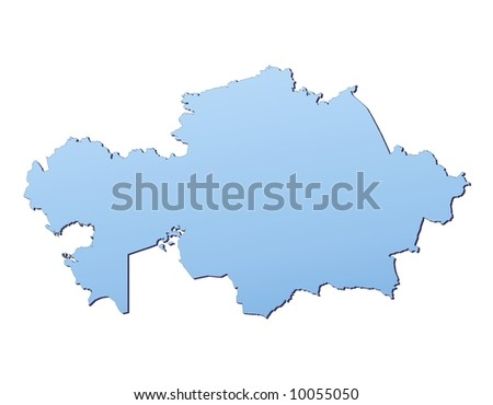 Kazakhstan map filled with light blue gradient. High resolution. Mercator projection.