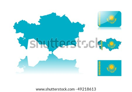 Kazakhstan  map including: map with reflection, map in flag colors, glossy and normal flag of Kazakhstan  .