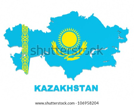 Kazakhstan, map with flag, isolated on white, with clipping path, 3d illustration