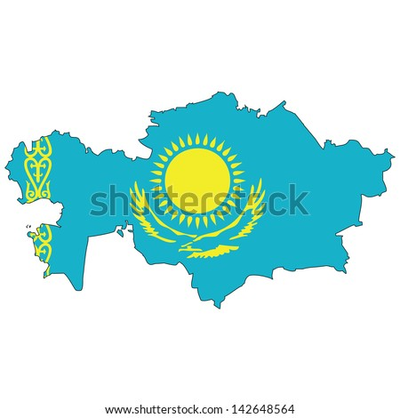 Kazakhstan map with the flag inside.
