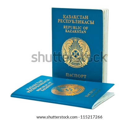Kazakhstan passport isolated on white