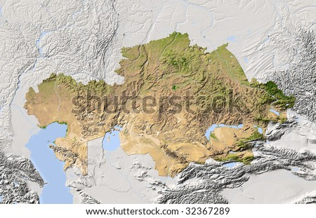 Kazakhstan, shaded relief map. Colored according to vegetation. Includes clip path for the state boundary.