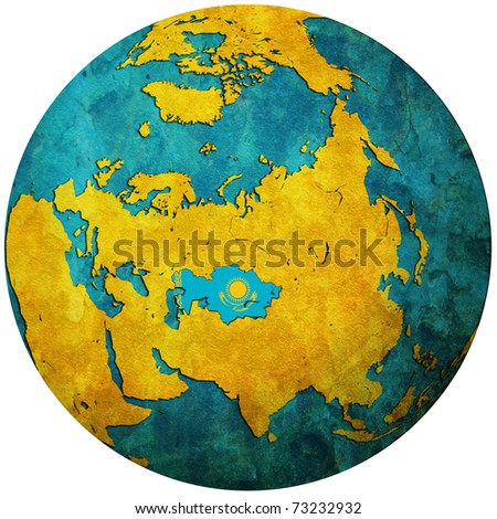 kazakhstan territory with flag on map of globe
