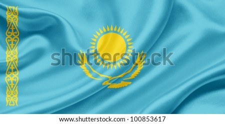 Kazakhstan waving flag - stock photo