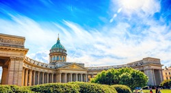 Kazan Cathedral or Cathedral of Our Lady of Kazan in sunny day, Saint Petersburg, Russia