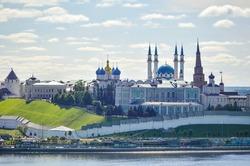 Kazan Kremlin and the river Kazanka against the blue summer sky