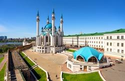 Kazan Kremlin in summer, Tatarstan, Russia. Aerial view of Kul Sharif mosque, landmark of Kazan. Panorama of tourist attraction, Islamic architecture in Kazan city center. Travel and tourism concept.