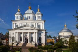 Kazan monastery in Yaroslavl. Cathedral of the Kazan Icon of the Mother of God and the Church of the Intercession of the Most Holy Theotokos. Golden Ring of Russia