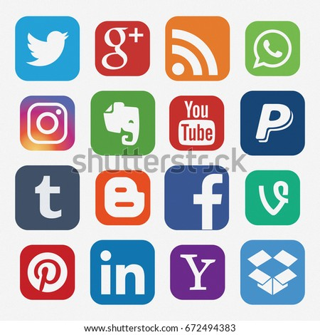 KAZAN, RUSSIA - April 12, 2017: Collection of popular social media logos printed on paper: Facebook, Twitter, LinkedIn, Instagram, WhatsApp, Youtube, Blogger and others
