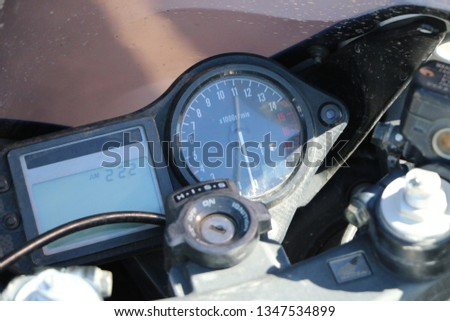 Kazan, RUSSIA, May 26, 2018: Opening of the motorcycle season - auto and motorcycle show. Steering wheel, speedometer, tachometer, rearview mirror and motorcycle control system. #1347534899