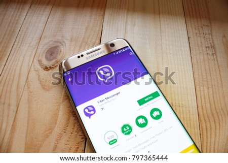 Kazan, Russian Federation - Sep 15, 2017: a white Samsung smartphone that displays Viber app on the screen. Viber is a cross-platform instant messaging and Voice over IP #797365444