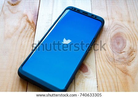 "Kazan, Russian Federation - Sep 15, 2017: Samsung s8 open Twitter application,Twitter is an online social networking and microblogging service that enables users to send and read ""tweets"""