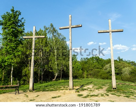 KAZIMIERZ DOLNY, POLAND - MAY 01 2014:. Three Crosses Mountain in Kazimierz Dolny, as a Memorial commemorating a plague that decimated the town\'s population