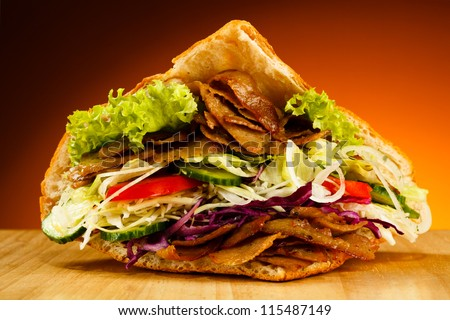 kebab   grilled meat  bread and ...