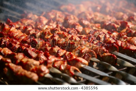 Kebab on the grill with smoke
