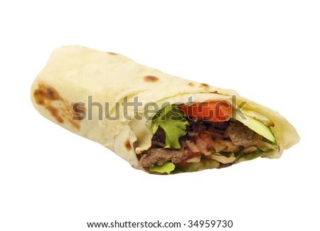 Kebab - traditional turkish food isolated on white