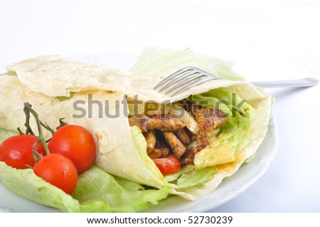 Kebab with vegetable and fork