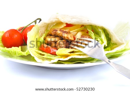Kebab with vegetable fork