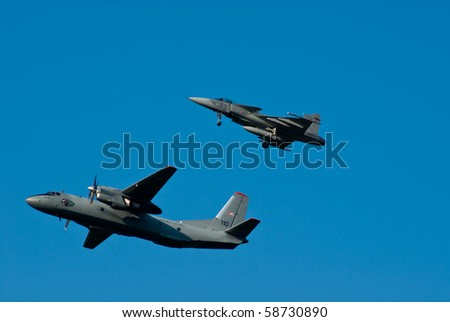 KECSKEMET - AUGUST 8: Hungarian An-26 and Gripen at the military display August 08, 2010 in Kecskemet, Hungary