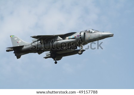 KECSKEMET; HUNGARY - AUGUST 15: British RAF Harrier arriving at Kecskemet airbase for the annual Hungarian airshow on August 15, 2008 in Kecskemet; Hungary.