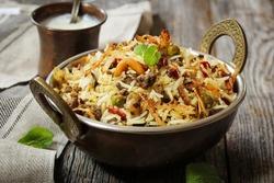 Keema /  Hyderabadi Kheema  Biryani -Basmati rice cooked with minced meat and aromatic spices, selective focus