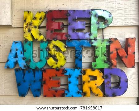 Keep Austin Weird multicolored metal sign